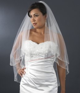 Elegance By Carbonneau Two Layer Beaded Fingertip Wedding Veil - Ivory