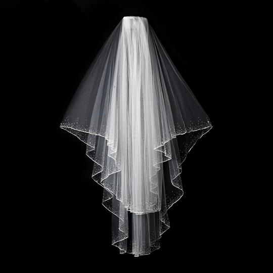 Elegance by Carbonneau Ivory Medium Two Layer Beaded Fingertip - Bridal Veil