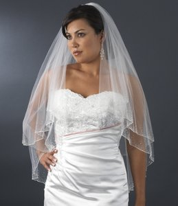 Elegance By Carbonneau Two Layer Beaded Fingertip Wedding Veil - Diamond White