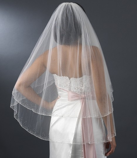 Elegance By Carbonneau Diamond White Two Layer Beaded Edge Fingertip Wedding Veil
