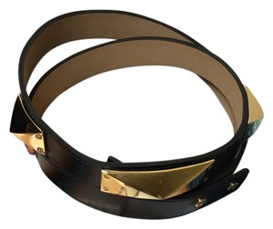 St. John ST. John Gold /black Leather Belt