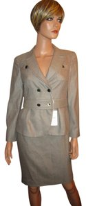 Armani Collezioni Tweed Soft Virgin Wool Skirt Jacket Suit Italy MOP Buttons!