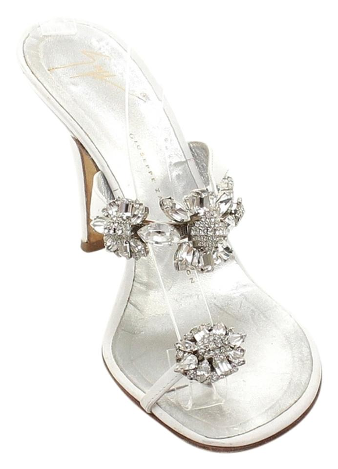 04fb9e34d5c Giuseppe Zanotti White Silver Leather Crystal Toe Ring Thong Slide Sandals