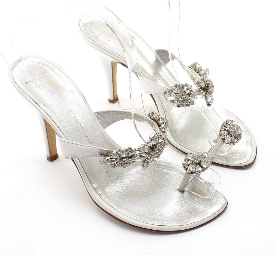 df15a704f36 Giuseppe Zanotti White Silver Leather Crystal Toe Ring Thong Slide Sandals  Size US 8 Regular (M