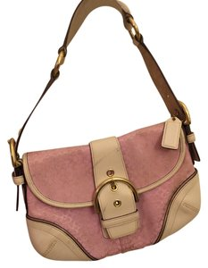 Coach Satchel in White Leather/Pink Signature/Gold Metallic