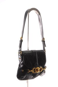 Gucci Patent Leather Flap Gold Tone Horsebit Shoulder Bag
