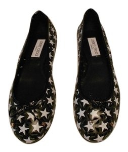 Jimmy Choo White Star Design Chic Made In Italy Black Flats