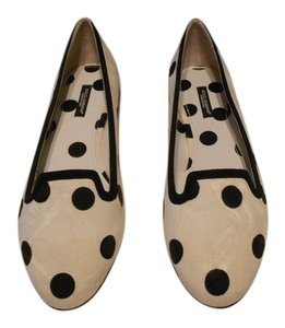 Dolce&Gabbana Vally Tone On Tone Pattern White/Black Flats