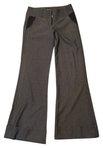 bebe Leather Black Grey Flare Pants