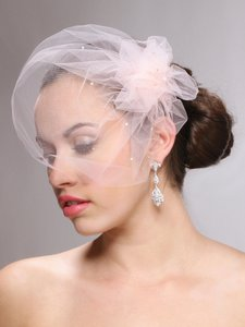 White Ivory Champagne Blush Pink Short Blusher with Swarovski Crystals Bridal Veil