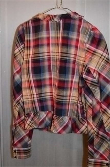 H&M Cute Round Neck With Ruffled Collar And Waist Measurements Are 18 Top Red/Cream/Grey/Blue Plaid