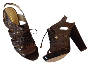 Coach Leather Bronze Platforms