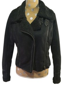 Topshop Faux Leather Sherpa Motorcycle Jacket