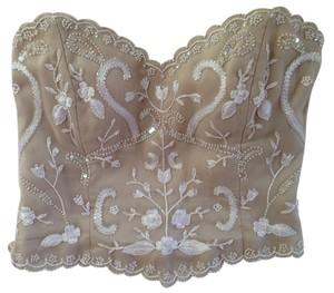 Victoria Royal Ltd Silk One Of A Top in Nude/Beige with Ivory Pearlescent Accents