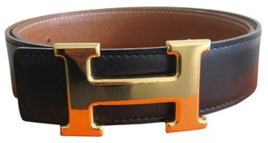 Herms Authentic 32MM/75CM Vintage Hermes Constance Reversible Belt KIt Gold Buckle Black and Brown Leather Strap...
