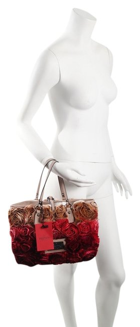 Item - W Pink & Leather Floral Handbag W/ Dust Red Silk Shoulder Bag