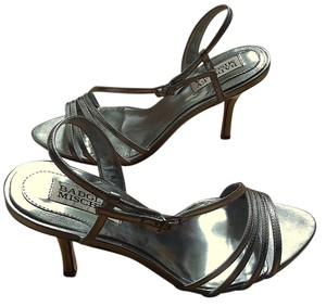 Badgley Mischka Metallic Leather Strappy Sandal Silver Formal