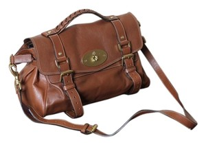 Mulberry Leather Crossbody Satchel in Oak(brown)