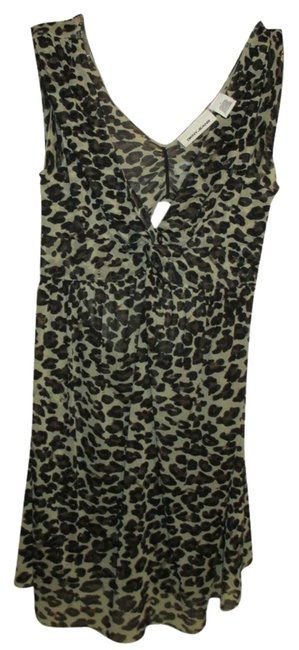 DKNY Sheer Designer Sexy Cut-out Multi Colored Shell Blouse Top cheetah, brown, black, tan