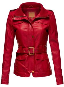 Luna Slim Fit Faux Leather Red/ Ivory/Black Leather Jacket