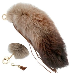 Large Brown Pom Pom Fox Fur Leather Tassel Bag/Purse Charm Key Chain