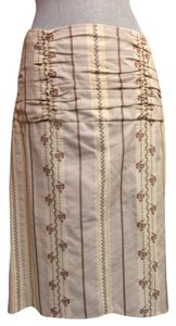 Nanette Lepore Cotton Skirt Tan with flowers