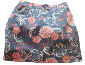 Ann Taylor LOFT Stretch Designer Floral 8 Medium Comfortable Short Mini Mini Skirt Blue. Pink, White, multi, denim