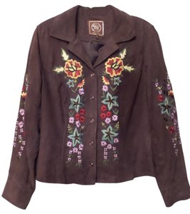 Double D Ranchwear Ranch Western Suede Leather Brown with Multi-Color Embroidery Leather Jacket