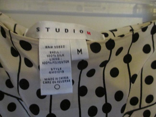 Studio M Silk Polyester Dry Clean Only Sheer Tan Office Wear Cool Comfortable Stylish Skirt tan, black, polka dot