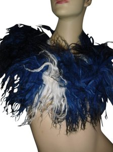 Mongolian curly fur Fur scarf, Mongolian fur shawl, blue curly fur @ Fashionista Style Boutique