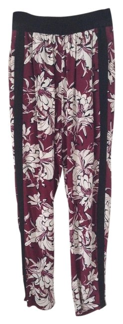 Item - Maroon Print Combination Printed Trousers Pants Size 4 (S, 27)