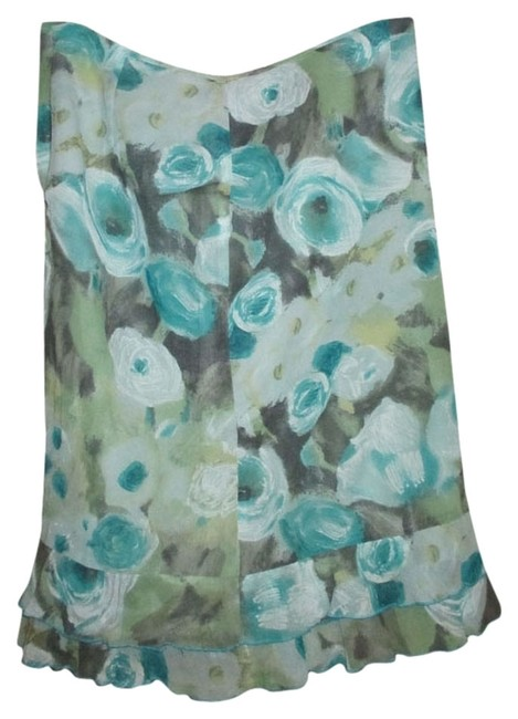 Laundry by Shelli Segal Blue Polyester Designer Cool Ruffle Trumpet Skirt multi, teal, mint green, beige