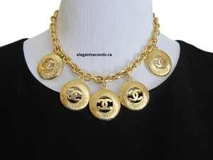 Chanel Auth. Vintage Chanel Gold Plated Necklace Firve Pendants