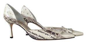 Manolo Blahnik Dorsay Kitten Natural Snakeskin Pumps