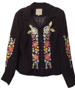 Double D Ranchwear Suede Leather Medium Black with Multi-Color Embroidery Leather Jacket