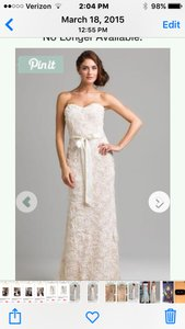 Badgley Mischka Ivory Rosette The Strapless Formal Wedding Dress Size 6 (S)