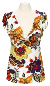 Boston Proper Floral Modern Stretchy Top Multi-Color