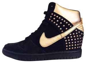 watch 117a9 8140d Nike Wedge Sneakers Studs Metallic Suede Black, Gold Athletic. Nike Black Gold  Dunk Sky ...