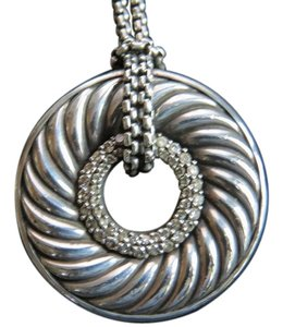 David Yurman Large Sculpted Cable Disc with Pave' Diamonds, 18