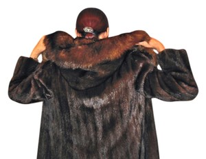 Hooded Midcalf Vintage Mink Fur Coat