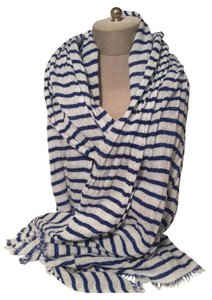 Gap Gap Blue and White Striped Cotton Scarf