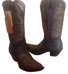 Stetson Brown Leather Brown/gold Boots