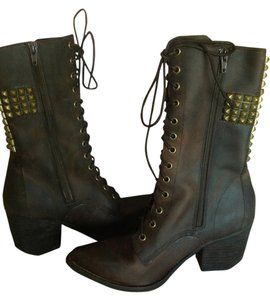 Jeffrey Campbell Leather Cross Brown Boots