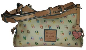 Dooney & Bourke Vintage Classic Leather Logo Satchel in multi white blue red green yellow