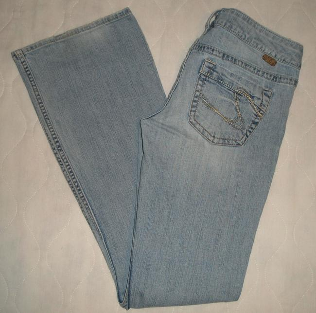 Silver Jeans Co. Classic 5 Pocket Style *zip Fly *machine Washable *cotton/Spandex *low Rise *distressing Detail *marking & Grinding Back Boot Cut Jeans-Light Wash