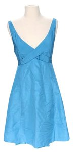 J.Crew short dress Shimmering Blue Silk Tulle V-neckline Sheath on Tradesy