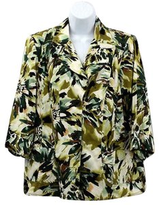 Dress Barn Printed Jacket GREEN Blazer