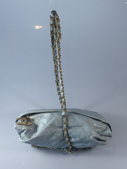 Chanel Baluchon Leather Gold Clutch Shoulder Wristlet in Blue Gray