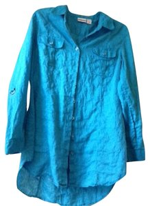 Chico's Adjustable Sleeves Button Up Chico Size 2 Linen Washable Comfortable 3/4 Length Sleeves Silver Easy On And Off Camp Top Teal
