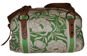 Relic Duffle Floral Satchel in green and white